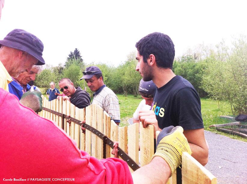 installation clôture jardin, aménagement paysager